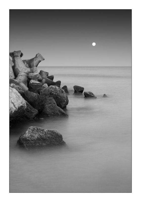 Black Sea Rocks and the Moon